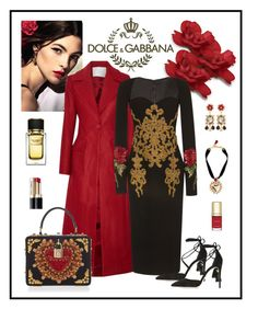 """""""Dolce & Gabbana Long Sleeve Fitted Dress"""" by romaboots-1 ❤ liked on Polyvore featuring Dolce&Gabbana, ADAM and Zuhair Murad"""