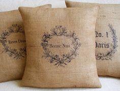 burlap & stencil pillow cases