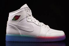 AIR JORDAN 1 (WHITE BODY/RAINBOW SOLE) - A little over a month ago we saw a blacked-out Jordan 1 for the girls served with a crazy colour fade on the sole, and now Jordan Brand have flipped the upper flavour. That means the leather is delivered in bright white instead of black, while other details are basically mirror images, including that nutso …