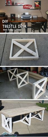 diy holz Check out the tutorial how to build a DIY trestle desk from scrap wood Diy Wood Projects, Furniture Projects, Diy Furniture, At Home Projects, Homemade Furniture, Furniture Assembly, Repurposed Furniture, Luxury Furniture, Diy Bench
