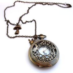 Pocket Watch Necklace Alice In Wonderland by ginnysboutique, $21.75