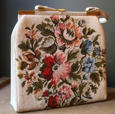 1950s White Tapestry bag with pastel floral pattern.