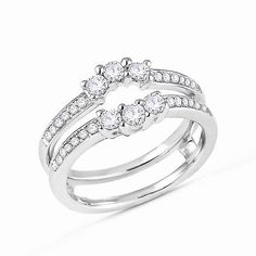 3 Stone Round Diamonds Ring Guard Wrap Solitaire Enhancer 14k White Gold 1/2ct