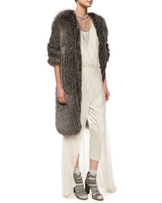 Fox Fur Cashmere-Knit Long Coat, Sleeveless Cropped Jumpsuit W/Overlay & Necklaces by Brunello Cucinelli at Neiman Marcus.
