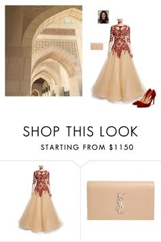 """Lady Red"" by tessorolara100 ❤ liked on Polyvore featuring Marchesa, Yves Saint Laurent and Rupert Sanderson"