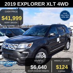 Stock# 04.09 - EL97021  $0 DOWN, BLIS, FORD PASS CONNECT, HILL START ASSIST, AND MORE BY LEASING THIS XLT 4WD $124/week for 48 months.  Comes with 202A Package, Features include  >Twin panel moon roof  >Voice activated navigation  >2.3L Ecoboost  >Remote vehicle start.... Ford Employee, 2019 Ford Explorer, Car Deals, Car Ford, Ontario, Remote, Twin, Vehicles, Twins
