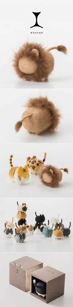 Woonya【lion】 woonya/ 猫/cat/羊毛フェルト/Needle/Felting/mascot/doll/home/style/products/art/design Cute Crafts, Felt Crafts, Diy And Crafts, Arts And Crafts, Needle Felted Animals, Felt Animals, Needle Felting Tutorials, Felt Toys, Wet Felting