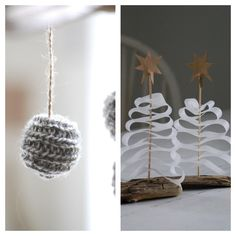 Love these!  Christmas trees made from strips of parchment paper, bamboo skewers, and a brown paper star.   Knitted ball ornament.