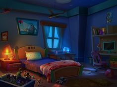 Child Bedroom Interior At Night Time Toys Are Awaking Become Life To The