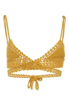 Cotton Crochet Wrap Triangle Bikini Top by SHE MADE ME Now Available on Moda Operandi