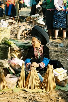 A Mong hill tribe lady selling in Meo Vac Marker. NE Vietnam.