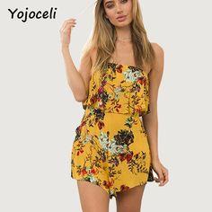 fca51e6909 Yojoceli Ruffle off shoulder printed sexy jumpsuit romper Sleeveless floral  short playsuit Summer fitness elegant overalls