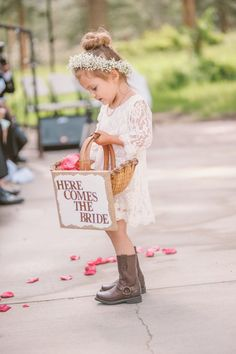 Rustic lace flower girl dress-bun hairstyle with baby's breath crown. toddler hair style for wedding Rustic Flower Girls, Lace Flower Girls, Lace Flowers, Flower Girl Dresses, Flower Crown, Cute Little Girl Hairstyles, Flower Girl Hairstyles, Bun Hairstyles, Updo