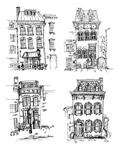 Set Of Old Hand Drawn Houses Stock Image