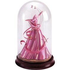 """WDCC Disney Classics Sleeping Beauty Princess Aurora's Dress A Dress A Princess Can Be Proud Of #WDCCDisneyClassics #Art. Glass Dome/Wooden Base: To keep it safe from evil spells. Scissors: Pewter. Thread: Wire.  Ribbon & Needle: Metal.  Spools of Thread: """"Float"""" above dress on special wires. Gown: Opalescent finish makes it seem to glow.   Sleeping Beauty's Dress was unveiled at the 1st WDAC Convention held at Walt Disney World Resorts in Orlando, FL March 19-21,1999. NLE of 5,000."""