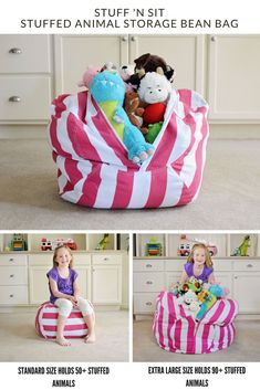 Are stuffed animals threatening to take over your home! You'll love the Stuff 'n Sit (Stuffed Animal Storage Bean Bag) to help declutter + organize your kids' stuffed animals collection! Teddy Storage, Soft Toy Storage, Toy Storage Solutions, Organizing Stuffed Animals, Sewing Stuffed Animals, Stuffed Animal Bean Bag, Stuffed Animal Storage, Diy Bean Bag, Bean Bag Storage