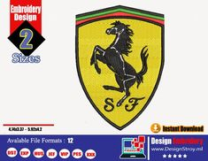 Embroidery Store, Embroidery Tools, Embroidery Files, Machine Embroidery Designs, Computer Basics, Brand Collection, Ferrari Logo, Super Cars, Logo Design