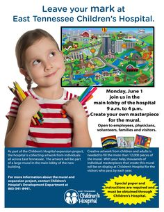 Leave Your Mark at East Tennessee Children's Hospital! Creativity from children and adults are needed to fill more than 12,000 pieces of a large mural that will be displayed in the main lobby of Children's Hospital's new expansion. Find out how you can contribute: https://www.etch.com/articles/leave_your_mark_at_east_tennessee_childrens_hospital.aspx?utm_content=buffer852cd&utm_medium=social&utm_source=pinterest.com&utm_campaign=buffer