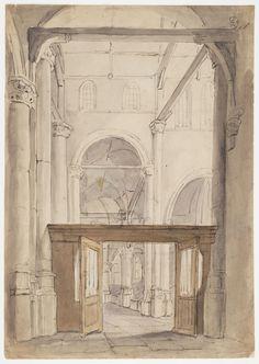 Gezicht in de Oude Kerk te Gouda - Geheugen van Nederland Gouda, City, Painting, Painting Art, Cities, Paintings, Painted Canvas, Drawings