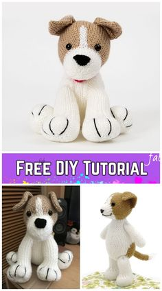 Knit Amigurumi Dog Toy Sofites Free Knitting Patterns – Free Jack Russell toy pattern Source by DIYDailyMag Baby Knitting Patterns, Crochet Toys Patterns, Amigurumi Patterns, Free Knitting, Knitting Toys, Crochet Pattern, Stitch Patterns, Knitted Animals, Animals Dog