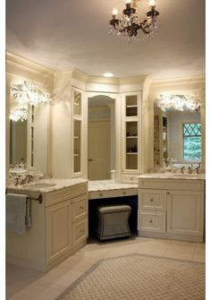 Bathroom Vanities with corner Makeup Area | Bathroom Bathroom