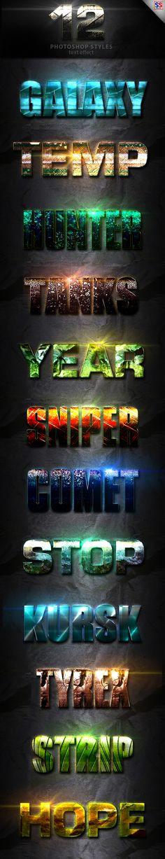 12 Light Photoshop text Effect Vol 13 by StylesShop 12 Light Photoshop text Effect Vol 13 This Text Effect is a Professional Photoshop Layer Styles, in this set, includes sources fil