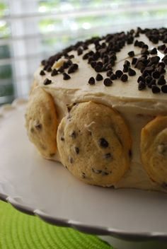 Chocolate Chip Cookie Dough Cake « The Domestic Rebel Just Desserts, Delicious Desserts, Dessert Recipes, Yummy Food, Awesome Desserts, Dessert Food, Dessert Ideas, Yummy Treats, Sweet Treats