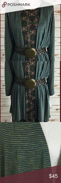 LuLaRoe Lindsay Kimono Perfect for layering over your favorite LuLaRoe tops and dresses; dark forest green color with golden stripes; 3/4 sleeve, lightweight, flowy, and super versatile, can be worn with skirts, jeans, dresses, etc. Great year-round closet staple. Please see size chart... could also fit most size 24 or 26  *This listing is for the Lindsay kimono only, NOT the Carly dress or belt*  Lindsey, layers, Lula, LR, Packers, Oakland A's, green and yellow, gold, cardigan, hi-lo, high…