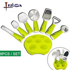 Lasten Kitchen Gadgets Set 8 Pieces Kitchenware Utensils Set with Stand Include Bottle Opener Pizza Cutter Ice Cream Scoop Grater Apple Corer Peeler Cheese Slicer and Stand >>> Want additional info? Click on the image.