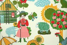 1970's+Retro+Wallpaper++Vintage+Farm+Scenic+Pink+by+RetroWallpaper,+$16.00