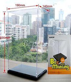 Clear-Acrylic-Display-Case-Transparent-Plexiglass-Dustproof-Box-33-5x19x14cm