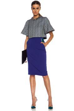 Image 5 of Roksanda Ilincic Arwen Wool-Blend Skirt in Peacock
