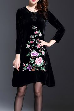 Floral Embroidered Suede Dress