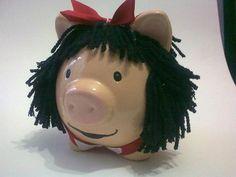 mafalda Piggy Banks, Cute Piggies, Pigs, Pottery, Baby Shower, Ceramics, Crafty, Christmas Ornaments, Purple