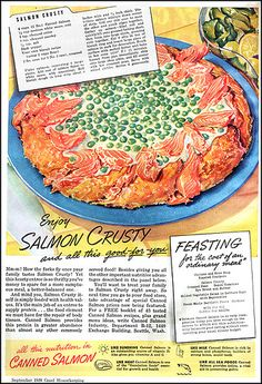 It looks as if the Salmon bits have rounded up a whole school of the little green fellas!  Canned Salmon Ad Good Housekeeping Sept. 1939