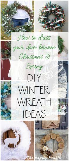 DIY Winter Wreath Ideas You'll Love! | The Happy Housie #winterdecor #winterwreaths