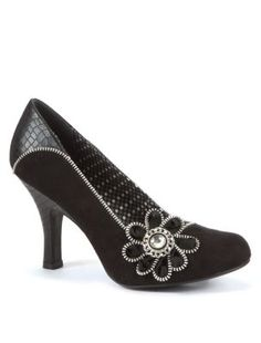 Ruby Shoo Black Monroe Diamante Flower Court Shoes