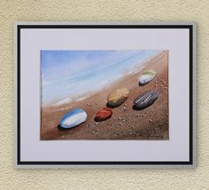 Watercolors-Original Watercolors Painting on Aquarelle, Landscape Aquarelle, Seascape Painting, Wall Art, Pebbles, Sea, Sky, Watercolors Art