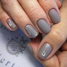 Accurate nails Cute nails Gray nails Grey nails with a pattern Matte nails Nails trends 2018 Painted nail designs Short nails 2017 Acrylic Nail Salon, Matte Nail Art, Acrylic Nail Designs, Matte Gray Nails, Purple Nail, Green Nail, Shiny Nails, Matte Pink, Brown Nails