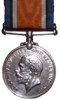 The Front of the British War Medal, 1914-18 (Squeak) Awarded to my great grandfather who entered a theatre of war or entered service overseas between 5 Aug 1914 and 11 Nov 1918.