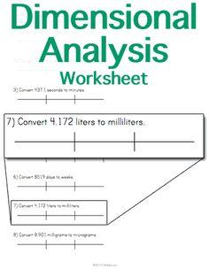 Dimensional Analysis Worksheet Answer Key