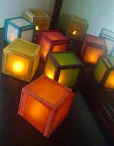 Popsicle stick lamps for Diwali
