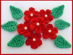 Crochet applique,6 small  crochet flowers and 6 small leaves, cards, scrapbooks, appliques and embellishments