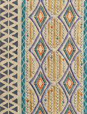Pollack  Embroidered Handprinted Stripe Fabric- Priya/Peacock- 1.35 yd (6082/02)