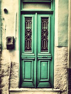 Chios, Greece. Old door in pirgy