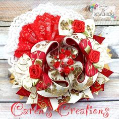 Valentine's day bow, Valentine, gold, stacked boutique bow, hair bow, fancy, over the top, roses, girls hair accessories