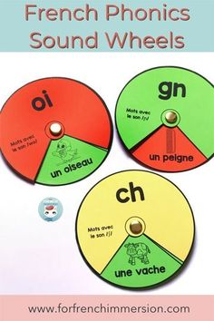 French Phonics Wheels: a hands-on way to learn words with the same sound. Great French phonics practice that you can use in guided reading or set up as a literacy center French Lessons, Spanish Lessons, French Tips, Spanish Class, Teaching French Immersion, Phonics Centers, Writing Centers, French Teaching Resources, Spanish Activities