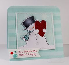 Happy heart Snowman, Striped Backgrounds, Sophisticated Snowflakes,Pierced Square STAX Die-namics, Fishtail Flags Layers Die-namics - Cindy Lawrence #mftstamps