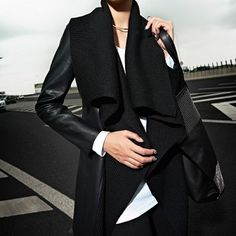 Black Lapel PU Leather Long Coat,Wendybox