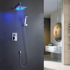 Led de luxo BAKALA direito de 8 polegada de bronze cromado para o banheiro chuveiro de chuva BR-LED88 alishoppbrasil